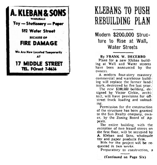 A. Kleban & Sons wholesale toy and paper distribution building at 592 Water Street, Bridgeport was lost in a major fire. This sparks the onset of new development projects